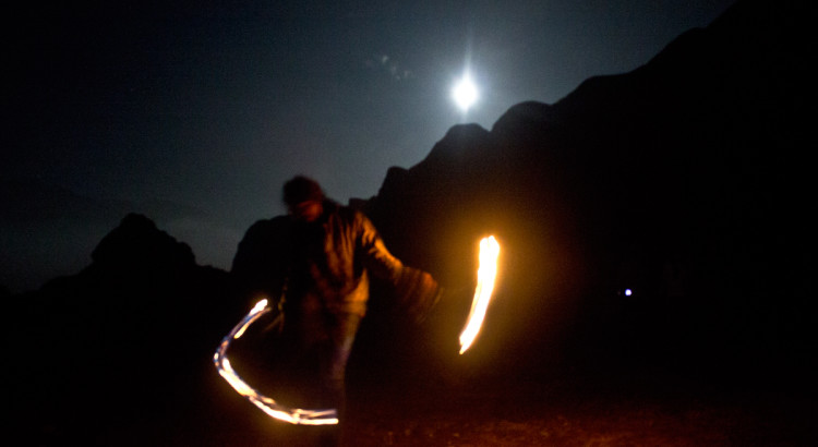 dancing, fire, moon, moonlight, peru