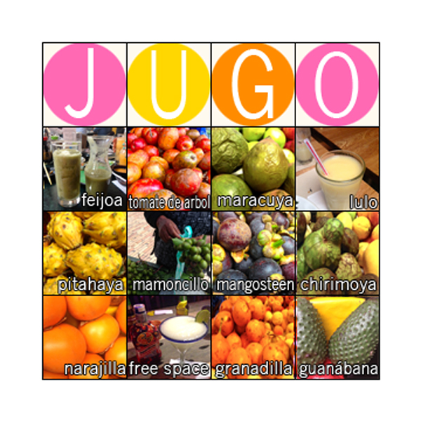 jugo, bingo, frutas, fruits